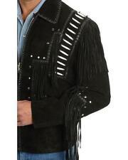 Mens Scully Leather Western wear Black Suede Leather Jacket Fringe Bead & Bones