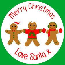 Regalo Personalizado Navidad Pan De Jengibre Hombre Pegatinas Etiquetas de fiesta de Navidad Novedad
