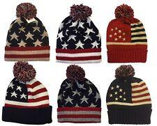 Winter Knit Cap Beanie Women Men Ski Knit Pom Pom American Flag Beanie Cap Hat