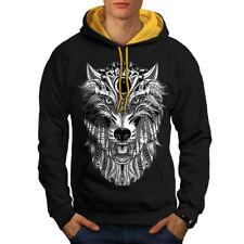 Wolf Scary Animal Men Contrast Hoodie NEW | Wellcoda
