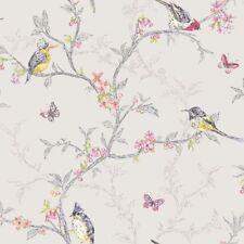 Phoebe Birds Tree Blossom Flora Butterflies Wallpaper Dove 98081 by Holden Decor