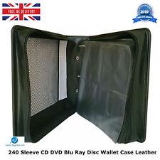 240 manica CD DVD BLU RAY DISC titolare Wallet Borsa Custodia di trasporto di archiviazione PU Pelle