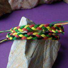 Rasta red yellow green men women kids Rasta Hemp Anklet or Bracelet braided in