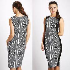 376 Ladies Party Optical Illusion Contrast Clubwear Bodycon Midi Dress Size M- L