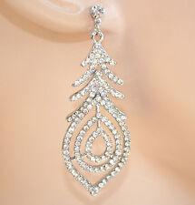 ORECCHINI donna argento strass cristalli eleganti Pendientes Earrings Cерьги 950