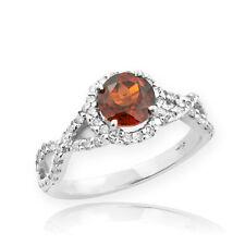 White Gold Garnet Birthstone Infinity Ring with Diamonds Engagement Wedding
