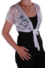 Womens Lace Bolero Shrugs Short Sleeve Plain Wrap Cardigan Blouse Tops Crochet