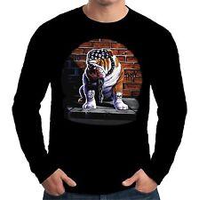 Velocitee Mens Long Sleeve T Shirt Tough Dog Motorcycle Bulldog Biker A10535