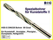 HSS DIN 338-G  80 Grad Spiralbohrer für Kunststoffe Acrylglas Plexiglas 2-10 mm