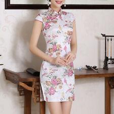 Women Sexy Chinese women's traditional Mini dress Slim cheongsam Qipao Flower