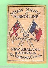 #D10.  MATCHBOX LABEL - SHAW SAVILL & ALBION SHIPPING LINE, NZ & AUST VIA PANAMA