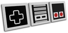 Retro Vintage Nintendo Gaming TREBLE CANVAS WALL ART Picture Print