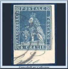 ASI 1851 Toscana 6 crazie azzurro su grigio n. 7d Frammento Antichi Italia