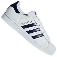 adidas Originals Superstar Sneaker Leder Schuhe B41996 Turnschuhe Weiß Navy Gold