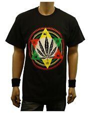 Weed Marijuana STAR OF DAVID RASTA Printed Graphic T-Shirt Fashion Urban Tee