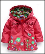 Filles Rouge Manteau de Pluie Mac printemps eté veste capuche coupe-vent fleurs 18m - 6yrs
