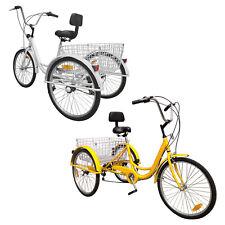 "6-Speed 24"" Adult 3-Wheel Tricycle Bicycle Cruise Bike Trike W/ Basket Backrest"