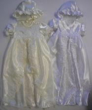 BABY Bambini Ragazze Lungo Abito da Battesimo Vestito Cappello Cofano Bianco Panna Perla 0-12