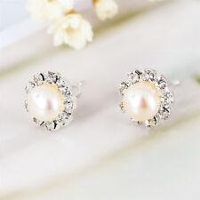 925 Sterling Silver Crystal Genuine 8mm Freshwater Pearl Stud Earrings Stunning