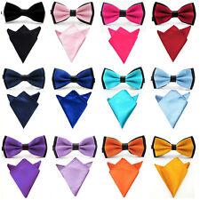 Men Pre-tied Dual Satin Bow Tie Bowtie Pocket Square Handkerchief Hanky Set New