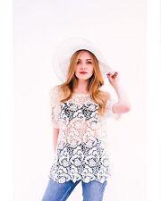 Lady floral pattern crochet short sleeves t-shirt top beach wear