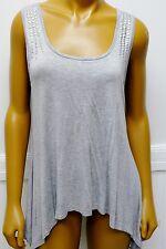 Pretty Good Shirt Rayon Blend Tank Top w Silvertone Brad Stud Gray High Low Grey