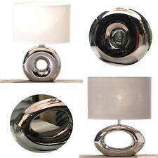 Tischleuchte Tischlampe Nachttisch-Lampe Schreibtischlampe Keramik Silber Weiss