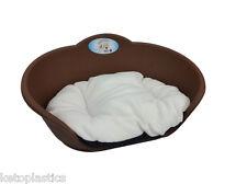 Heavy Duty Marrone Pet Letto Con Cuscino Bianco UK Fatto CANE GATTO CESTO IN PLASTICA