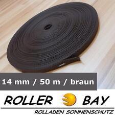 50 m Mini Rolladen Gurt braun Rolladengurt Gurtband 14 mm breit
