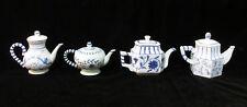Teapot Figurine Miniature Decor White & Delft Blue Resin Flower Floral Scroll