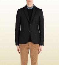 $1800 NEW Gucci Mens Wool Stretch Flannel Crest Blazer Jacket 347325 1165