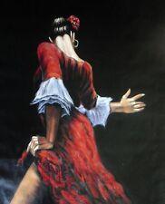 SALSA TANGO Flamenco Dancer pittura ad olio 28x16 non print.box telaio disponibili