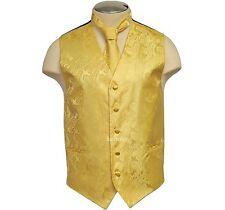 New Brand Q micro fiber formal Men's Paisley Vest Tuxedo Waistcoat_Necktie Gold