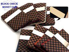 Money Clip Slim Wallet Credit Card Holder Faux Leather Block Check Gift Korean