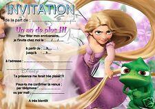 5 ou 12 cartes invitation anniversaire RAIPONCE REF 17 avec/sans envel imprimées