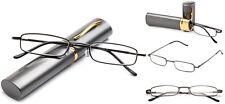 Slim Tube Readers Reading Glasses in Aluminium Hard Case Gunmetal Compact Reader