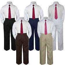 3pc Boys Suit Set Burgundy Necktie Baby Toddlers Kids Formal Shirt Pants S-7