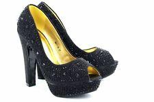 Gorgeous Black Diamante Platform Wedding Evening Shoes High Heel 13cm Open Toe