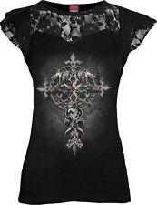 SPIRAL DIRECT CUSTODIAN Corset Lace Layered Ladies/Gargoyle/Cross/Rock/Goth/Top