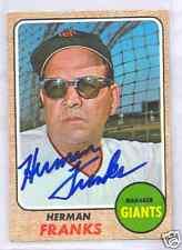 Herman Franks San Francisco Giants 1968 Topps #267 Autographed Baseball Card