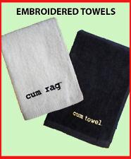 Embroidered Cum Rag Cum Towel White Black 100% Cotton Velour Jizz Spunk Wipe