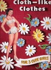 VINTAGE UNCUT 1949 CLOTH-LIKE CLOTHES 3 CUTE GIRLS PAPER DOLLS~#1 REPRODUCTION