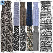 Womens Ladies Print Gathered Boobtube Bandeau Sheering Long Maxi Dress Plus Size