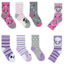 Girls Socks 3 Pairs Kids Novelty Panda Dug Ankle Socks Uk Size 6-8.5 9-12 12-3.5