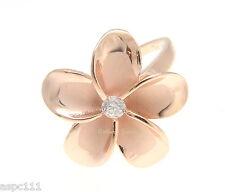 PINK ROSE GOLD STERLING SILVER 925 HAWAIIAN PLUMERIA FLOWER RING 21MM CZ SZ 3-12