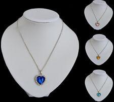 Halskette Herz des Ozeans Collier Titanic Kette Anhänger Kristall Facette 4 Farb