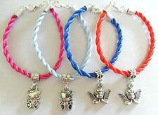 """7"""" silky twisted cord bracelet with charm, Kitty, Cherub"""