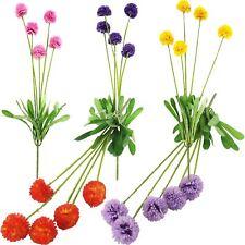 5 Head Small Pompom Flower Spray - Artificial Silk Flowers Fake Stem Mum