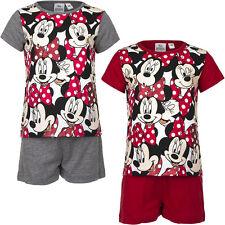 Nuevo Set Pijama corto pijama niñas Minnie Mouse Gris Rojo 98 104 116 128 #121