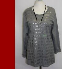 CHALOU +  Pullover Feinstrick  -grau silber   - A-Linie -Jersey  -  NEU - XXL
